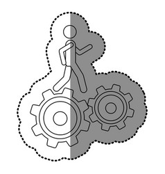 Monochrome contour sticker with man over two vector