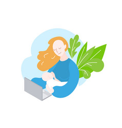 Mother freelancer mom working from home office vector