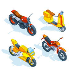 Motorcycles isometric 3d pictures of vector
