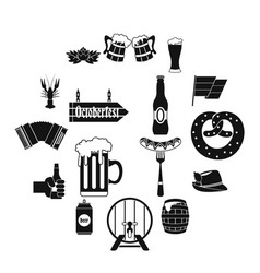 oktoberfest icons set simple style vector image