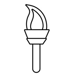 olympic torch symbol black and white vector image