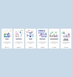 Online business website and mobile app onboarding vector