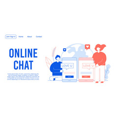 online chat connecting loving people landing page vector image