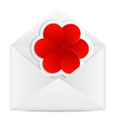 Paper envelope with a red flower vector image