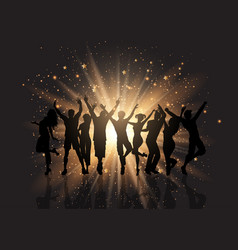 party crowd on a starburst background vector image