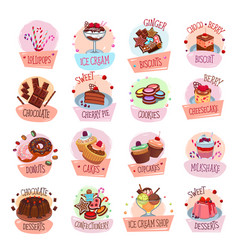 Pastry shop desserts cakes ice cream icons vector