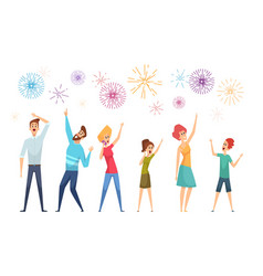 people watching salute festive firework and happy vector image