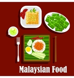 Popular rice dishes of malaysian cuisine vector image
