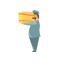 Postman Holding Large Package On Shoulder vector