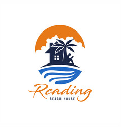 reading beach house logo vector image
