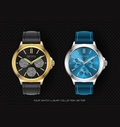 realistic clock watch chronograph collection vector image