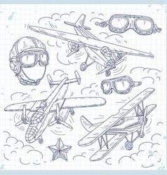 Retro biplane set icons old aircraft vector