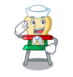 Sailor character baby eat on highchair indoors vector