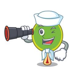 Sailor with binocular ping pong racket mascot vector