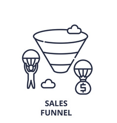 sales funnel line icon concept sales funnel vector image