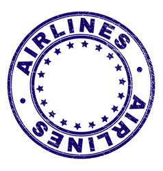 Scratched textured airlines round stamp seal vector