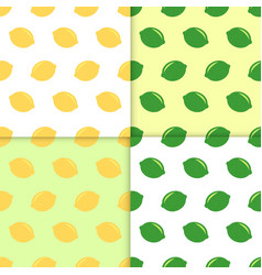 Seamless pattern with lemons and limes doodle vector
