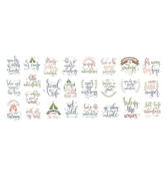 Set 25 hand lettering inscription posters about vector
