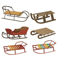 set cartoon sleds for children collection of vector image