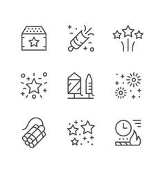 Set line icons firework vector
