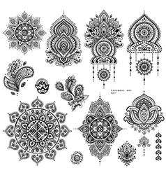 set of Indian floral paisley ornaments vector image