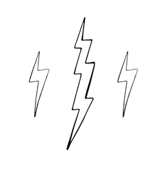 Set of simple lightning doodle group of hand vector image