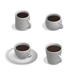 Set of white cups for coffee in 3d vector