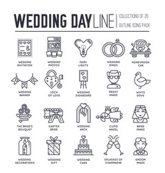 Set wedding day decoration and attributes icons vector