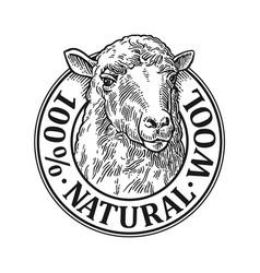 Sheep head 100 natural wooll lettering vintage vector