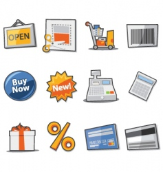 shopping icons fresh collection vector image