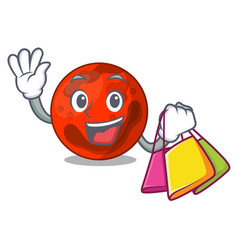 Shopping mars planet character cartoon vector
