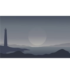 Silhouette of lighthouse on gray background vector