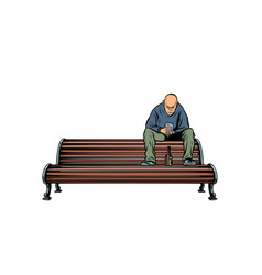 skinhead bully sitting on a bench with a bottle vector image