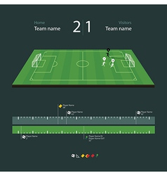 Soccer field with set of infographic elements vector image vector image