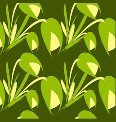 spring flowers and green tulips on a green vector image
