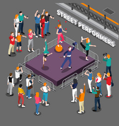 Street performers isometric composition vector