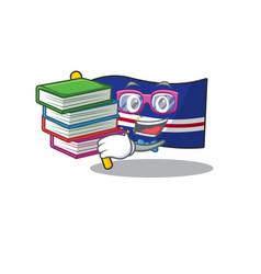 Student with book flag cape verde mascot cartoon vector