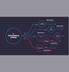 Thin line infographic scheme with 5 options vector