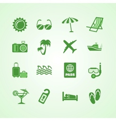 Vacation travel green icons set vector image