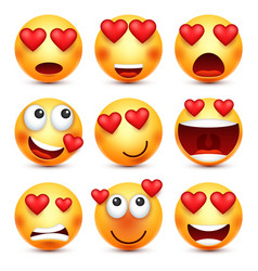 valentines day smiley emoji with heart love vector image