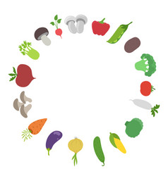 vegetable round frame garden harvest circle vector image