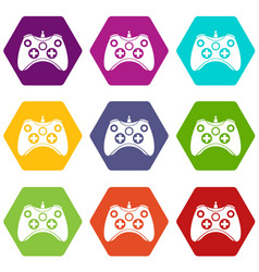 video game controller icon set color hexahedron vector image