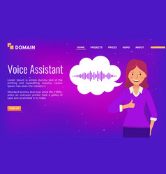 voice assistant landing page design happy girl vector image