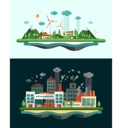 Wasted and green landscapes - ecological banners vector image