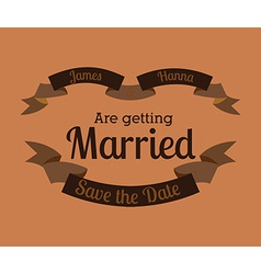 Wedding design over orange background vector image