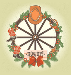 Western christmas wreath with old wood wheel and vector