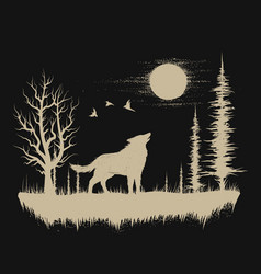 Wolf in the strange forest vector