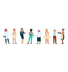 women different races and professions in modern vector image