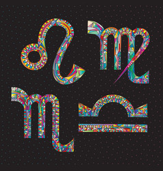 Zodiac signs lion virgo libra scorpio art vector