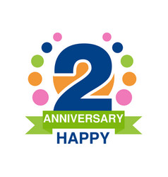 2nd anniversary colored logo design happy holiday vector image